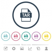 TAR file format flat color icons in round outlines. 6 bonus icons included. - TAR file format flat color icons in round outlines