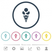 Ice cream flat color icons in round outlines. 6 bonus icons included. - Ice cream flat color icons in round outlines