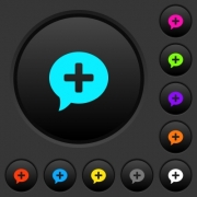 Add comment dark push buttons with vivid color icons on dark grey background - Add comment dark push buttons with color icons