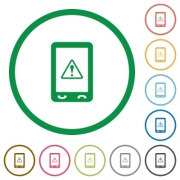 Mobile warning flat color icons in round outlines on white background - Mobile warning flat icons with outlines
