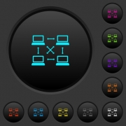 Content delivery network dark push buttons with vivid color icons on dark grey background - Content delivery network dark push buttons with color icons