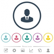 Businessman avatar flat color icons in round outlines. 6 bonus icons included. - Businessman avatar flat color icons in round outlines