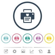 IP printer flat color icons in round outlines. 6 bonus icons included. - IP printer flat color icons in round outlines
