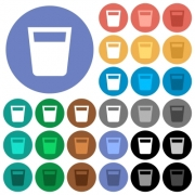 Drink multi colored flat icons on round backgrounds. Included white, light and dark icon variations for hover and active status effects, and bonus shades. - Drink round flat multi colored icons
