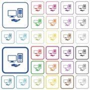 Shared computer color flat icons in rounded square frames. Thin and thick versions included. - Shared computer outlined flat color icons