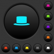 Silk hat dark push buttons with vivid color icons on dark grey background - Silk hat dark push buttons with color icons