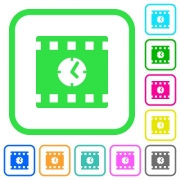 Movie playing time vivid colored flat icons in curved borders on white background - Movie playing time vivid colored flat icons