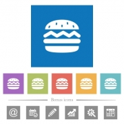 Single hamburger flat white icons in square backgrounds. 6 bonus icons included. - Single hamburger flat white icons in square backgrounds