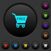 Free shopping cart dark push buttons with vivid color icons on dark grey background - Free shopping cart dark push buttons with color icons