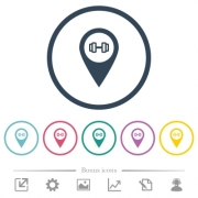 Gym GPS map location flat color icons in round outlines. 6 bonus icons included. - Gym GPS map location flat color icons in round outlines