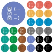 Source code checking multi colored flat icons on round backgrounds. Included white, light and dark icon variations for hover and active status effects, and bonus shades. - Source code checking round flat multi colored icons