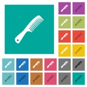 Comb with handle multi colored flat icons on plain square backgrounds. Included white and darker icon variations for hover or active effects. - Comb with handle square flat multi colored icons