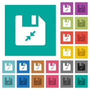 Compress file multi colored flat icons on plain square backgrounds. Included white and darker icon variations for hover or active effects. - Compress file square flat multi colored icons