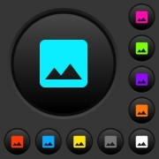 Single image dark push buttons with vivid color icons on dark grey background - Single image dark push buttons with color icons
