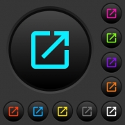 Launch application dark push buttons with vivid color icons on dark grey background - Launch application dark push buttons with color icons
