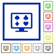 Online gambling flat color icons in square frames on white background - Online gambling flat framed icons