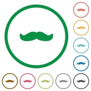Mustache flat color icons in round outlines on white background - Mustache flat icons with outlines