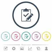 Fill out checklist flat color icons in round outlines. 6 bonus icons included. - Fill out checklist flat color icons in round outlines