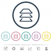 Multiple layers flat color icons in round outlines. 6 bonus icons included. - Multiple layers flat color icons in round outlines