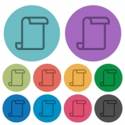 Blank paper scroll darker flat icons on color round background - Blank paper scroll color darker flat icons