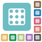 Domino nine white flat icons on color rounded square backgrounds - Domino nine rounded square flat icons