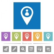 Member GPS map location flat white icons in square backgrounds. 6 bonus icons included. - Member GPS map location flat white icons in square backgrounds