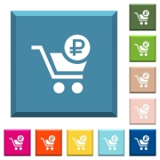 Checkout with Ruble cart white icons on edged square buttons in various trendy colors - Checkout with Ruble cart white icons on edged square buttons