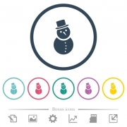 Snowman flat color icons in round outlines. 6 bonus icons included. - Snowman flat color icons in round outlines