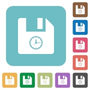 File time white flat icons on color rounded square backgrounds - File time rounded square flat icons