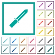 Knife flat color icons with quadrant frames on white background - Knife flat color icons with quadrant frames