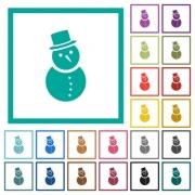 Snowman flat color icons with quadrant frames on white background - Snowman flat color icons with quadrant frames
