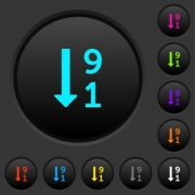 Descending numbered list dark push buttons with vivid color icons on dark grey background - Descending numbered list dark push buttons with color icons