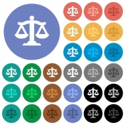 Scale of law multi colored flat icons on round backgrounds. Included white, light and dark icon variations for hover and active status effects, and bonus shades. - Scale of law round flat multi colored icons