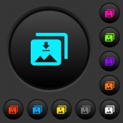 Download multiple images dark push buttons with vivid color icons on dark grey background - Download multiple images dark push buttons with color icons