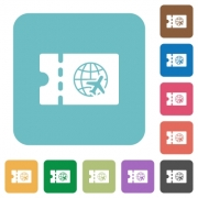 World travel discount coupon white flat icons on color rounded square backgrounds - World travel discount coupon rounded square flat icons