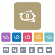 More banknotes with portrait white flat icons on color rounded square backgrounds. 6 bonus icons included - More banknotes with portrait flat icons on color rounded square backgrounds