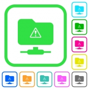 FTP warning vivid colored flat icons in curved borders on white background - FTP warning vivid colored flat icons