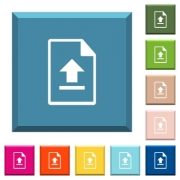 Upload file white icons on edged square buttons in various trendy colors - Upload file white icons on edged square buttons