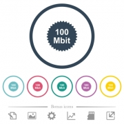 100 mbit guarantee sticker flat color icons in round outlines. 6 bonus icons included. - 100 mbit guarantee sticker flat color icons in round outlines