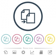 Copy item flat color icons in round outlines. 6 bonus icons included. - Copy item flat color icons in round outlines