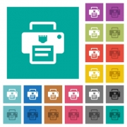 IP printer multi colored flat icons on plain square backgrounds. Included white and darker icon variations for hover or active effects. - IP printer square flat multi colored icons
