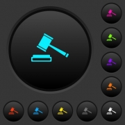 Auction hammer dark push buttons with vivid color icons on dark grey background - Auction hammer dark push buttons with color icons