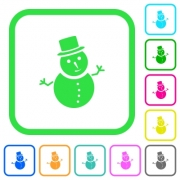 Snowman vivid colored flat icons in curved borders on white background - Snowman vivid colored flat icons