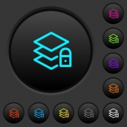 Locked layers dark push buttons with vivid color icons on dark grey background - Locked layers dark push buttons with color icons