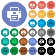 IP printer multi colored flat icons on round backgrounds. Included white, light and dark icon variations for hover and active status effects, and bonus shades. - IP printer round flat multi colored icons