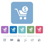 Checkout with Dollar cart white flat icons on color rounded square backgrounds. 6 bonus icons included - Checkout with Dollar cart flat icons on color rounded square backgrounds
