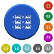 Single image selection with radio buttons round color beveled buttons with smooth surfaces and flat white icons - Single image selection with radio buttons beveled buttons