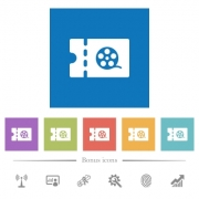 Movie discount coupon flat white icons in square backgrounds. 6 bonus icons included. - Movie discount coupon flat white icons in square backgrounds