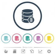 Database compress data flat color icons in round outlines. 6 bonus icons included. - Database compress data flat color icons in round outlines