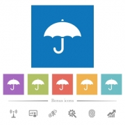 Umbrella flat white icons in square backgrounds. 6 bonus icons included. - Umbrella flat white icons in square backgrounds - Large thumbnail